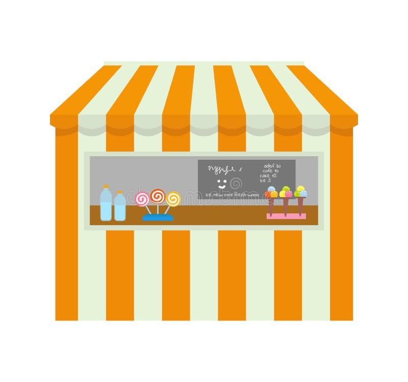 Tienda con los artículos a comprar, quiosco del parque de atracciones de la tienda ilustración del vector