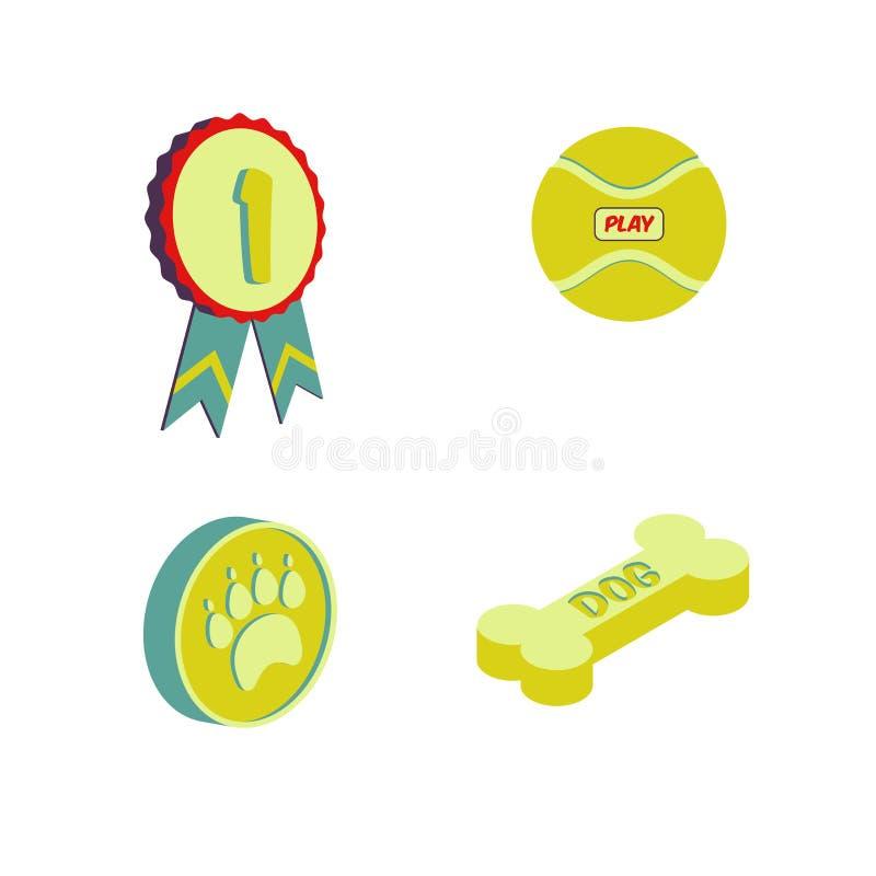 Tienda de animales del icono plano stock de ilustración