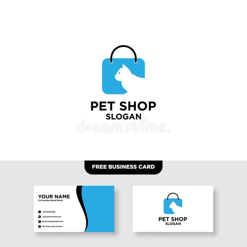 Tienda de animales Logo Vector Template, maqueta libre de la tarjeta de visita ilustración del vector