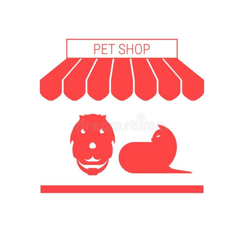 Tienda de animales, perro y Cat Single Flat Vector Icon Toldo y letrero rayados stock de ilustración