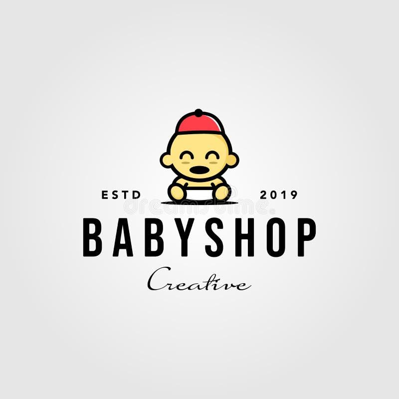 Tienda de bebés para bebés con el logo de los diseños vectores de hipster stock de ilustración
