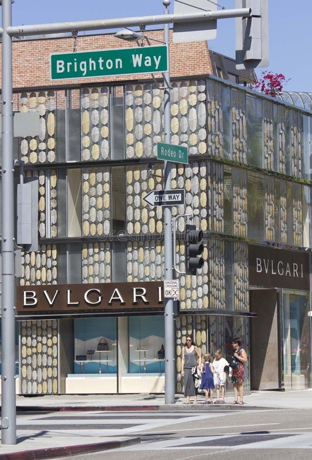 Tienda de Bulgari en la impulsión famosa del rodeo imagenes de archivo