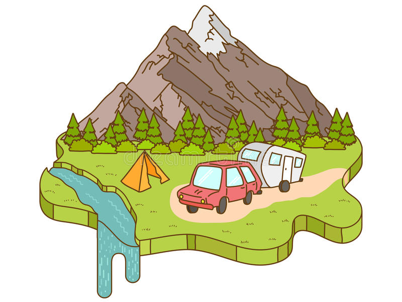 Tienda de campaña cerca de las montañas en el fondo ilustración del vector