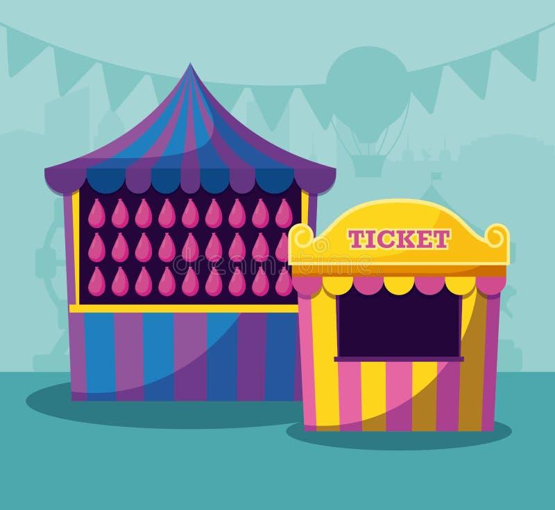 Tienda de circo con el boleto de la venta ilustración del vector