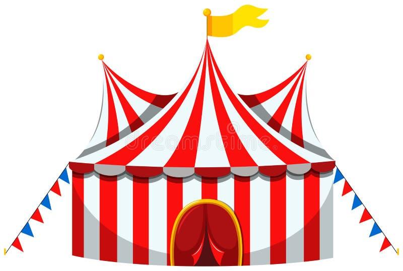 Tienda de circo en rojo y blanco rayada ilustración del vector