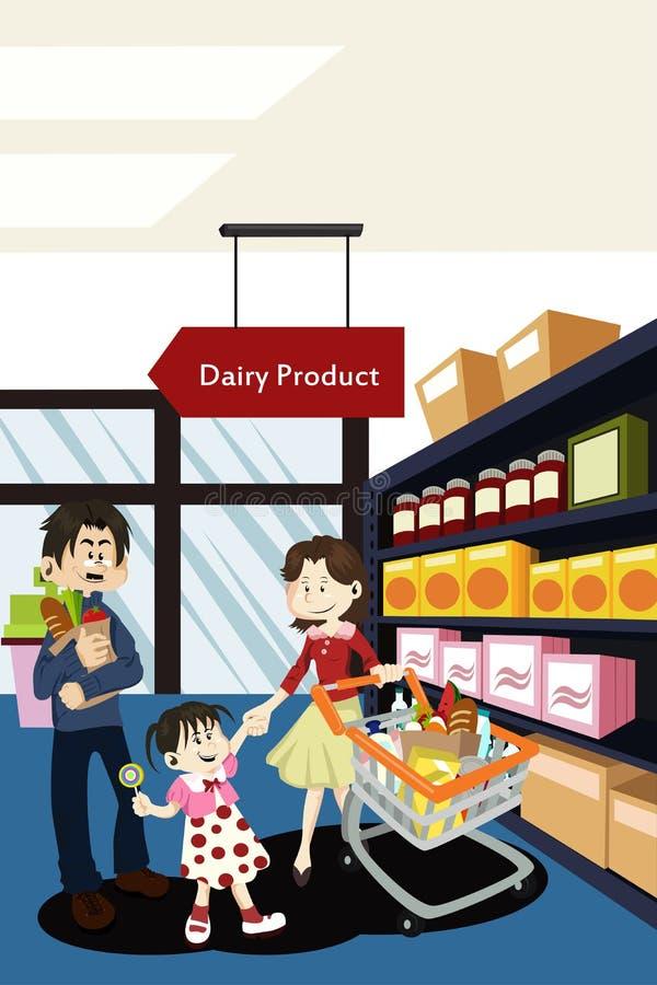 Tienda de comestibles de las compras de la familia ilustración del vector