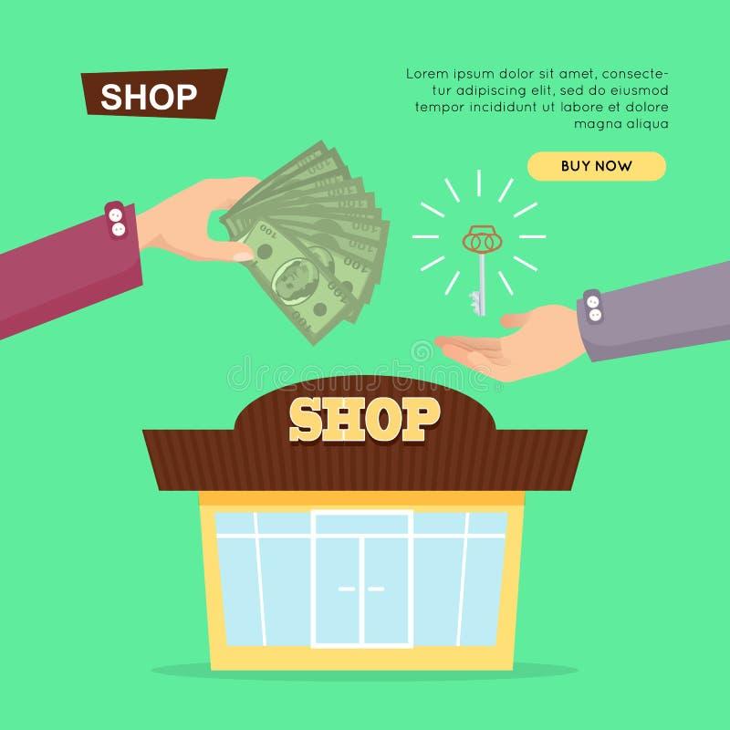 Tienda de compra en línea Venta de la propiedad Bandera del Web ilustración del vector