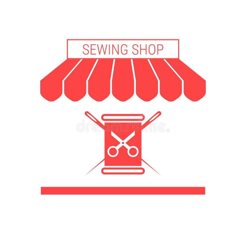 Tienda de costura, adaptando el solo icono plano del vector del taller Toldo y letrero rayados libre illustration