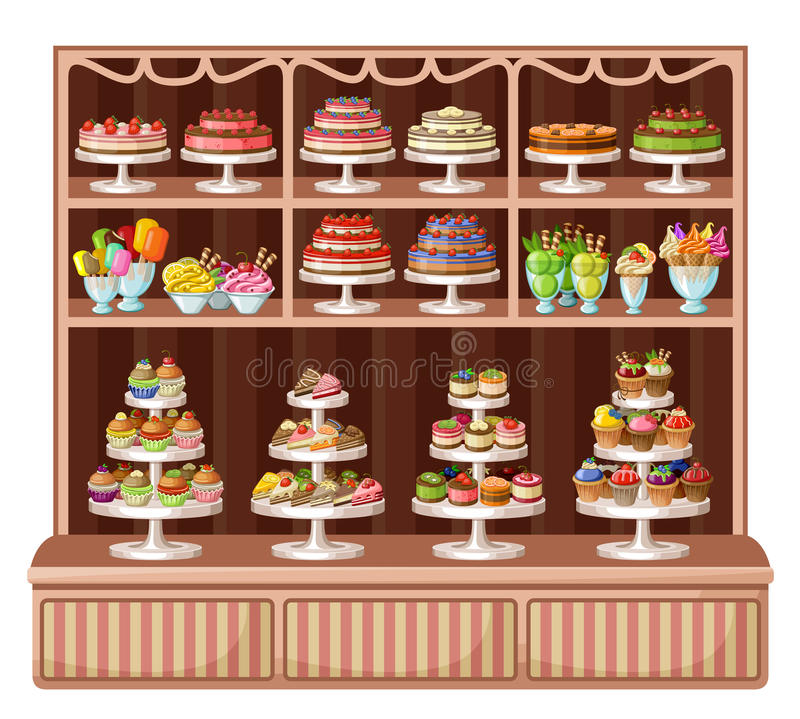 Tienda de dulces y de la panadería ilustración del vector