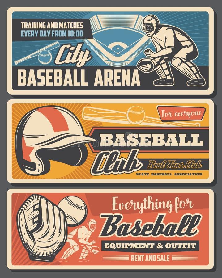 Tienda de equipos de béisbol, jugador y campo stock de ilustración