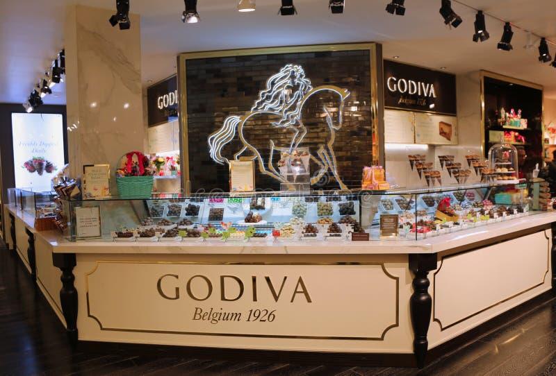 Tienda de Godiva en el ` s Herald Square de Macy en Manhattan foto de archivo libre de regalías