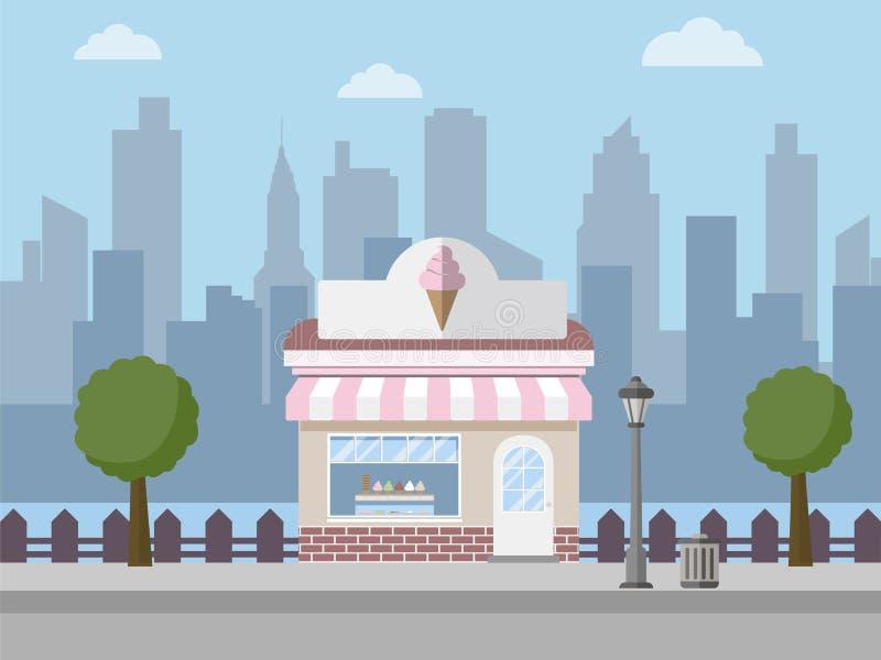 Tienda de helado stock de ilustración