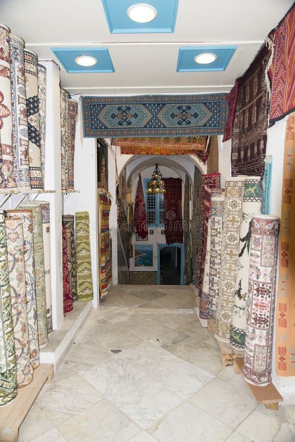 Tienda de la alfombra en Túnez fotografía de archivo