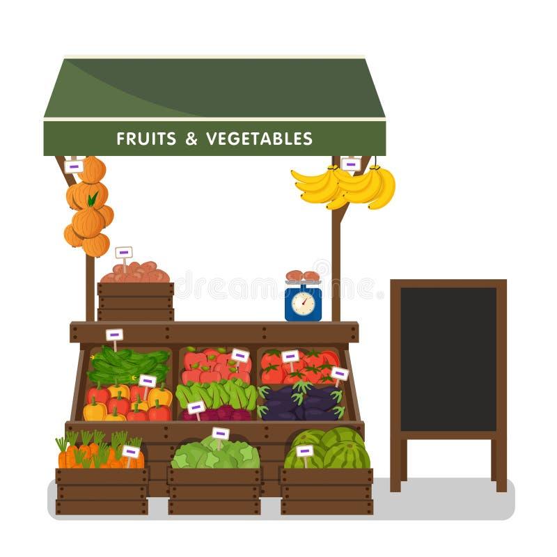 Tienda de la granja Mercado local de la parada ilustración del vector