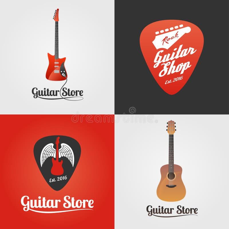 Tienda de la guitarra, colección de la tienda de la música del icono del vector, símbolo, emblema, logotipo ilustración del vector
