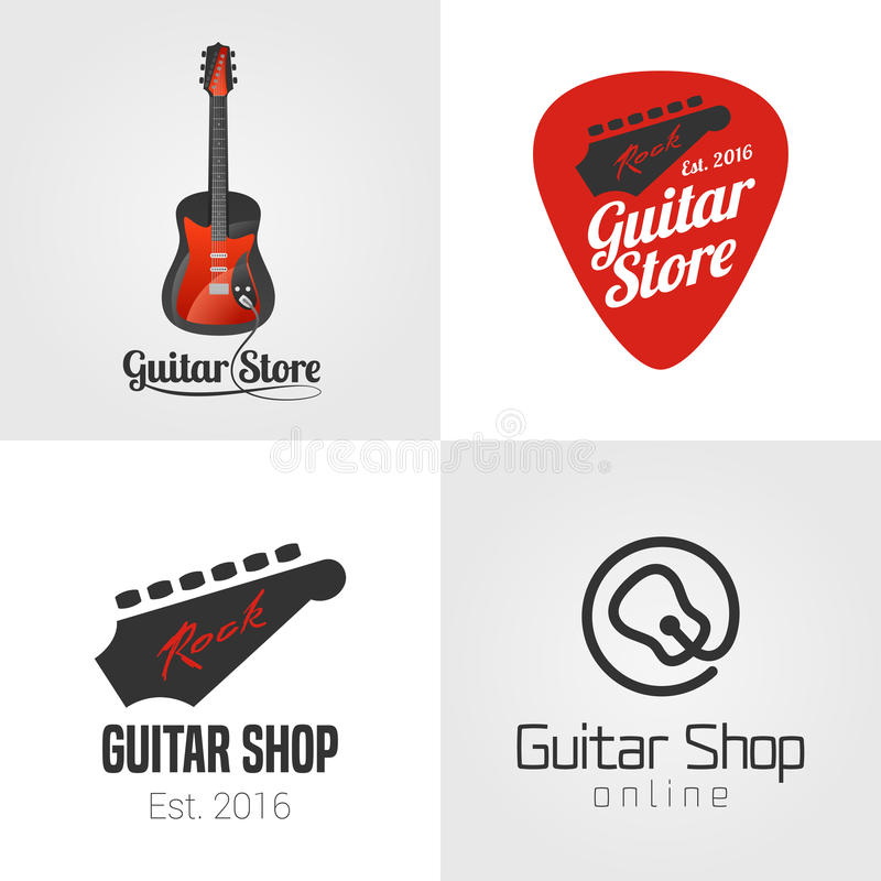 Tienda de la guitarra, sistema de la tienda de la música, colección de icono del vector, símbolo, emblema, logotipo, muestra ilustración del vector