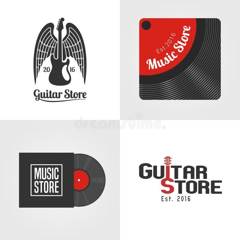 Tienda de la guitarra, sistema de la tienda de la música del icono del vector, símbolo, emblema, logotipo ilustración del vector