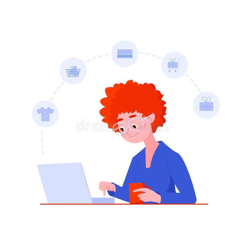 Tienda de la mujer joven en línea usando el ordenador portátil Concepto en l?nea de las compras Plantillas del web Ejemplo del ve ilustración del vector