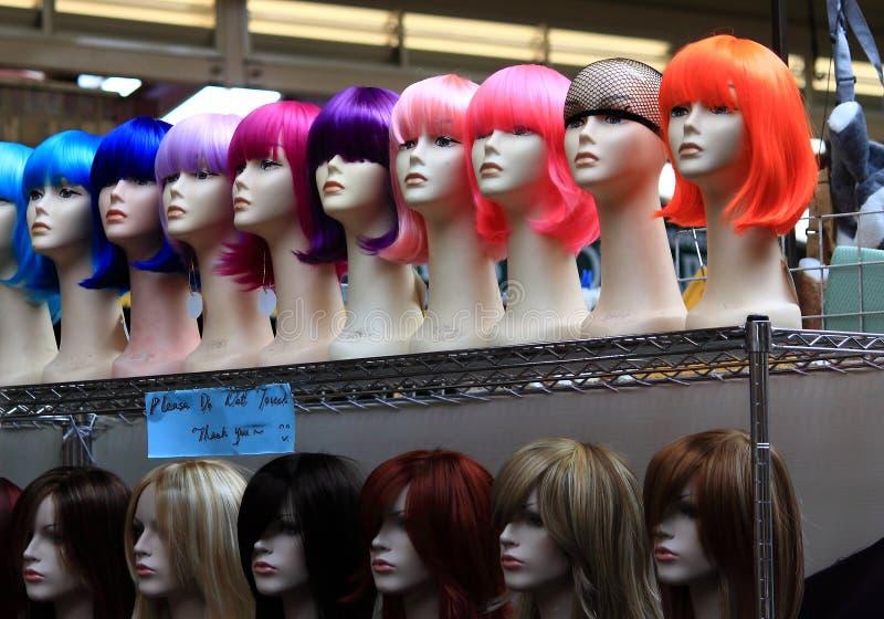 Tienda de la peluca en el mercado Melbourne Australia de Victoria foto de archivo libre de regalías
