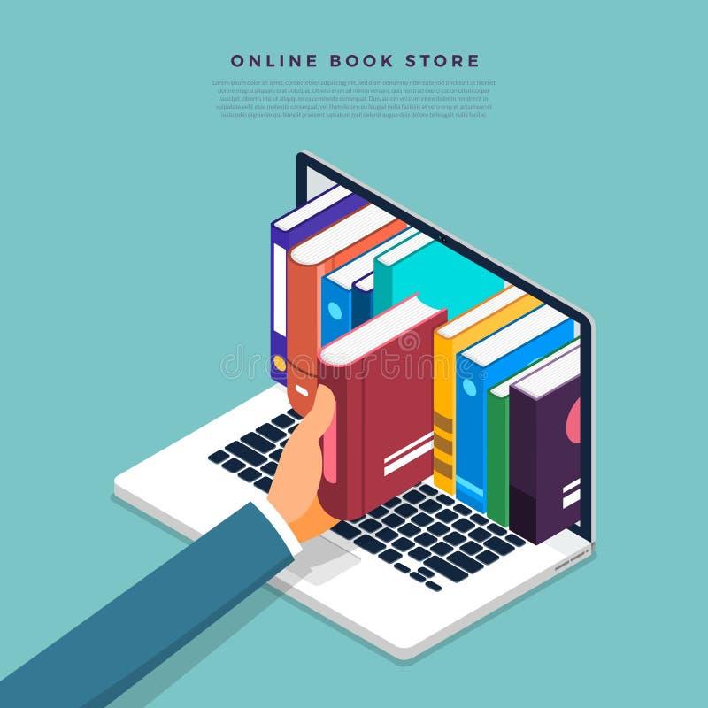 Tienda de libros en línea plana del concepto de diseño Escoja el libro a dedo del inte ilustración del vector