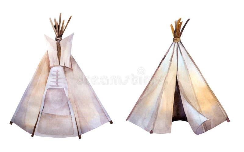Tienda de los indios norteamericanos de la acuarela Imágenes del estilo de Boho América étnica stock de ilustración