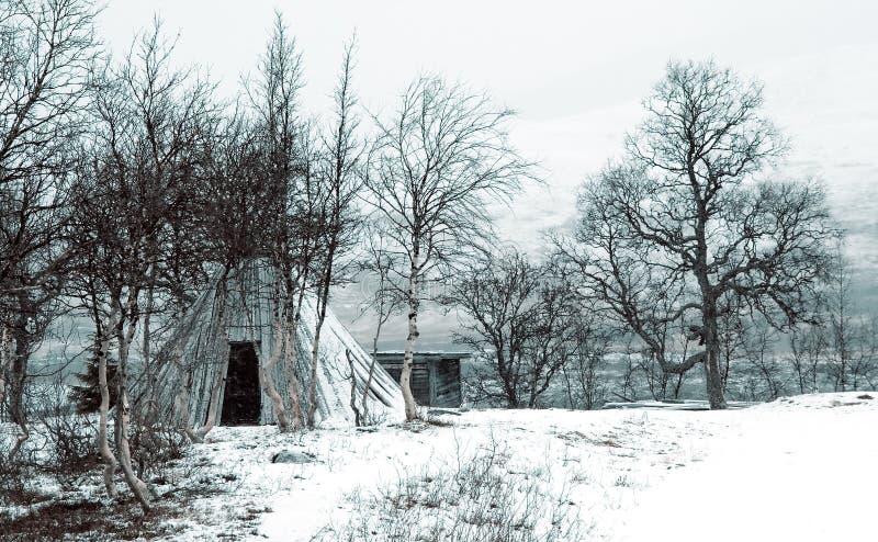 Tienda de los indios norteamericanos del invierno fotos de archivo libres de regalías