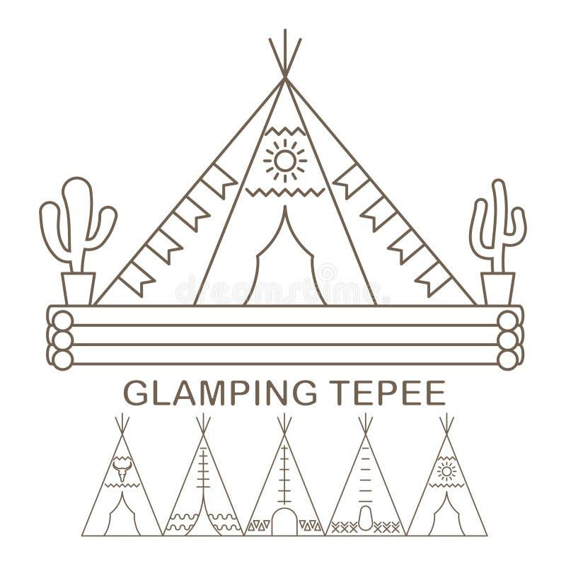 Tienda de los indios norteamericanos en linear stock de ilustración