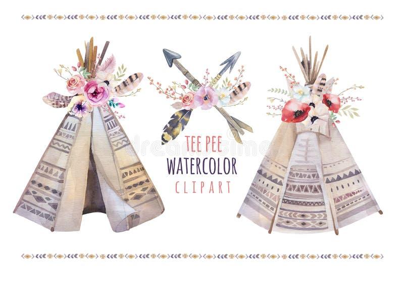 Tienda de los indios norteamericanos tribal de la acuarela Handdrawn, sitio para acampar blanco aislado diez stock de ilustración