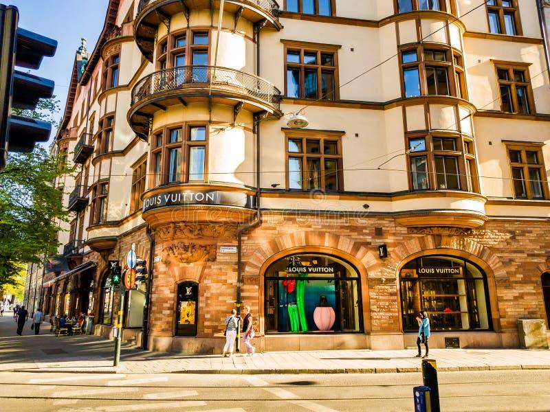 Tienda de Louis Vuitton en el EDITORIAL de Estocolmo foto de archivo