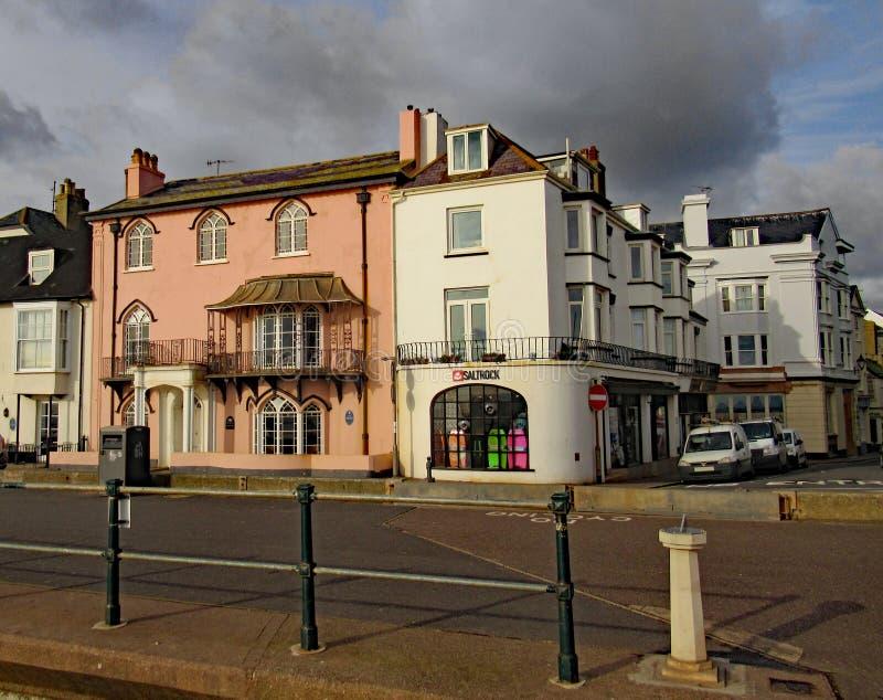 Tienda de Saltrock en la congelación del ftp de la explanada de Sidmouth imágenes de archivo libres de regalías