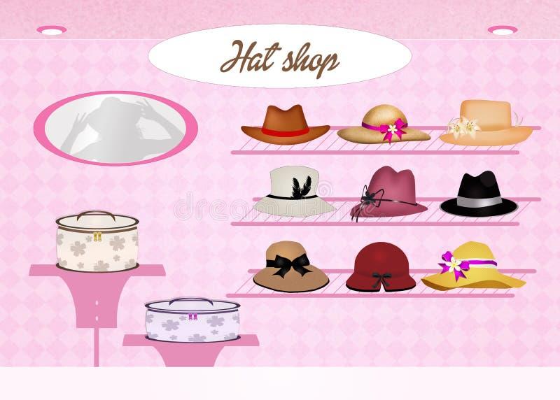 Tienda de sombreros stock de ilustración