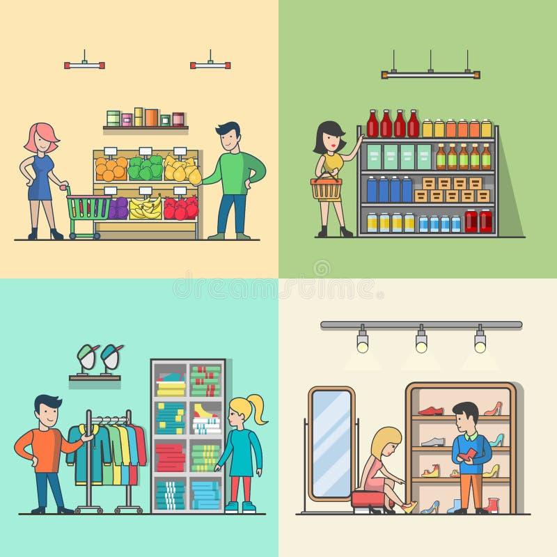 Tienda de ultramarinos plana linear del supermercado de la gente stock de ilustración
