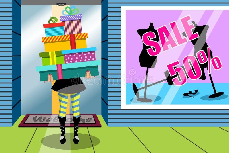 Tienda de ventana de los regalos del regalo de la pila de la mujer de las compras ilustración del vector