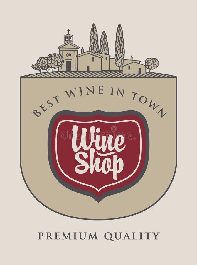 Tienda de vino con paisaje del italiano de la agricultura stock de ilustración