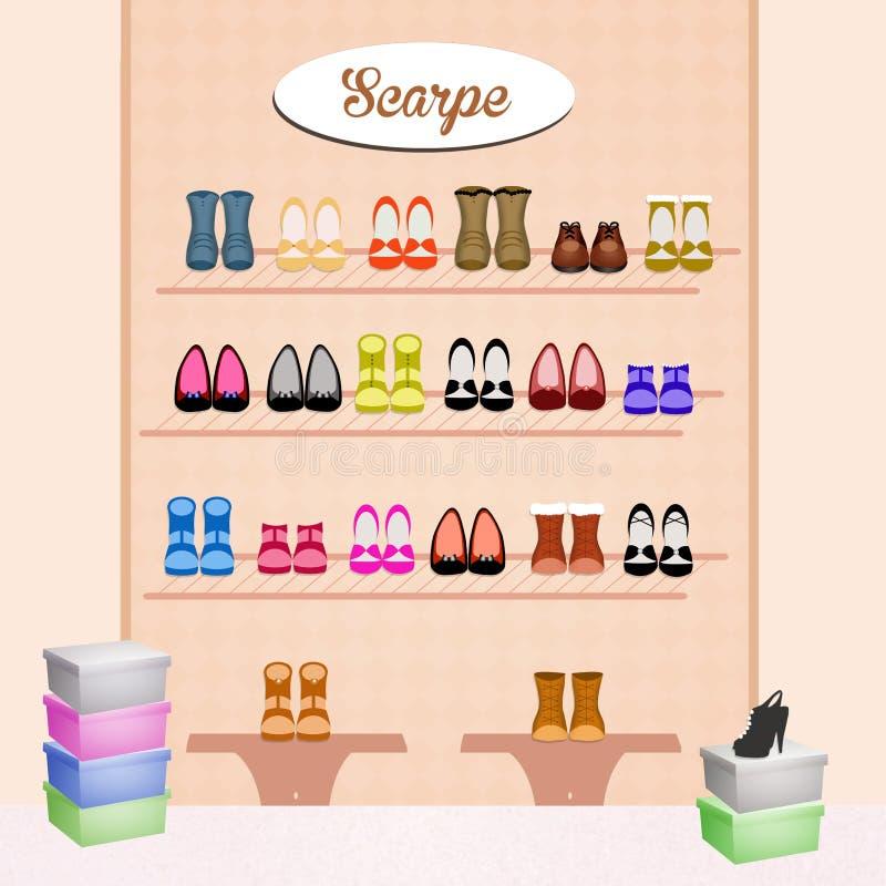 Tienda de zapatos ilustración del vector