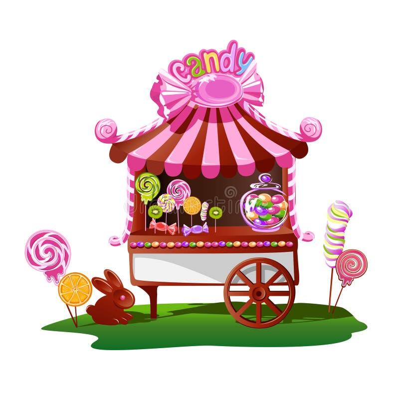 Tienda del caramelo con una decoración alegre libre illustration