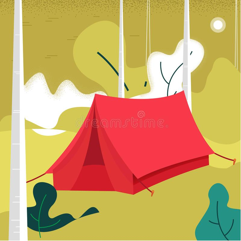 Tienda del ejemplo del vector de acampar Opinión sobre las montañas Hojas Fondo del bosque de la naturaleza ilustración del vector