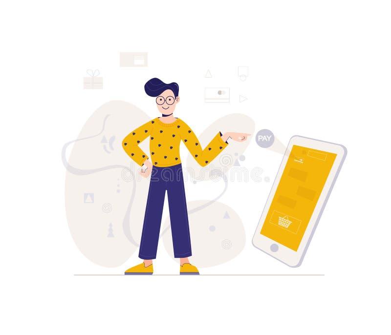 Tienda del hombre joven en línea usando smartphone Concepto en l?nea de las compras Plantilla del web Ejemplo del vector en estil ilustración del vector