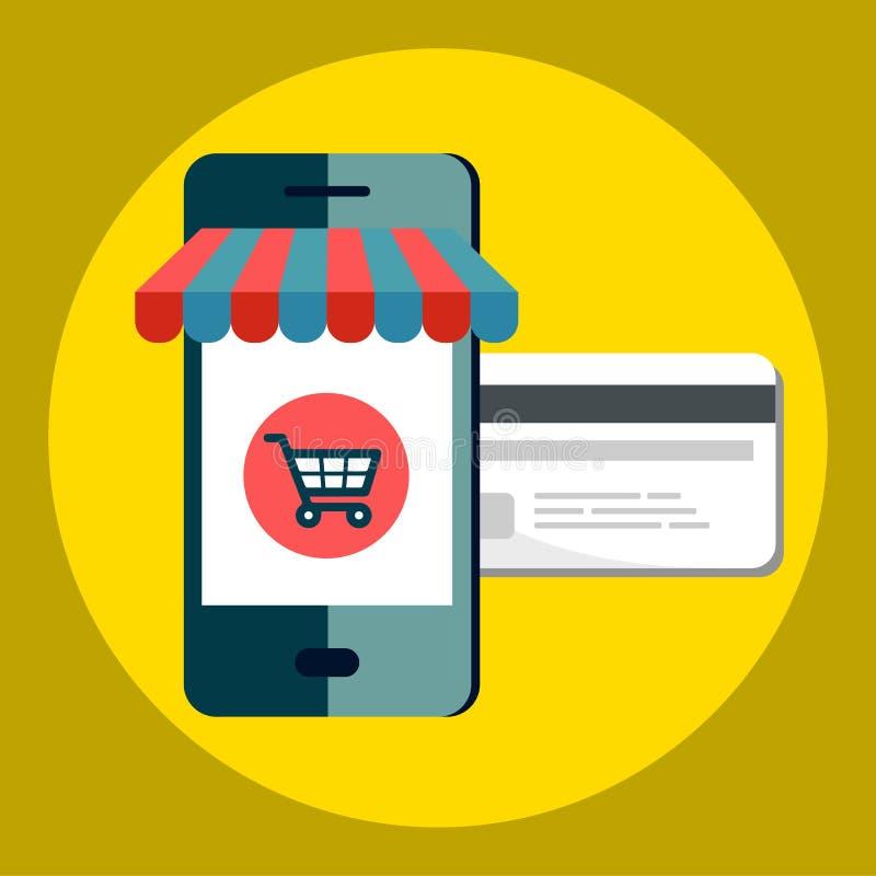 Tienda del icono en línea, diseño plano del icono del negocio Iconos del App, página de la red de las ideas del web, compras virt stock de ilustración