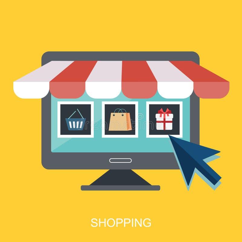 Tienda del icono en línea, diseño plano del icono del negocio Iconos del App, página de la red de las ideas del web, compras virt libre illustration