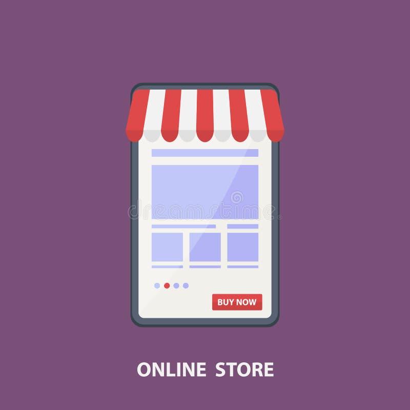Tienda del teléfono Concepto plano de las compras del diseño del vector, comprando en línea y cartel del comercio electrónico, ti libre illustration