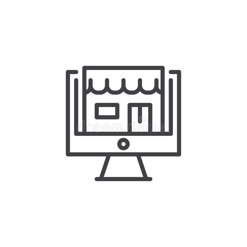 Tienda en icono de escritorio del esquema de la pantalla del ordenador libre illustration