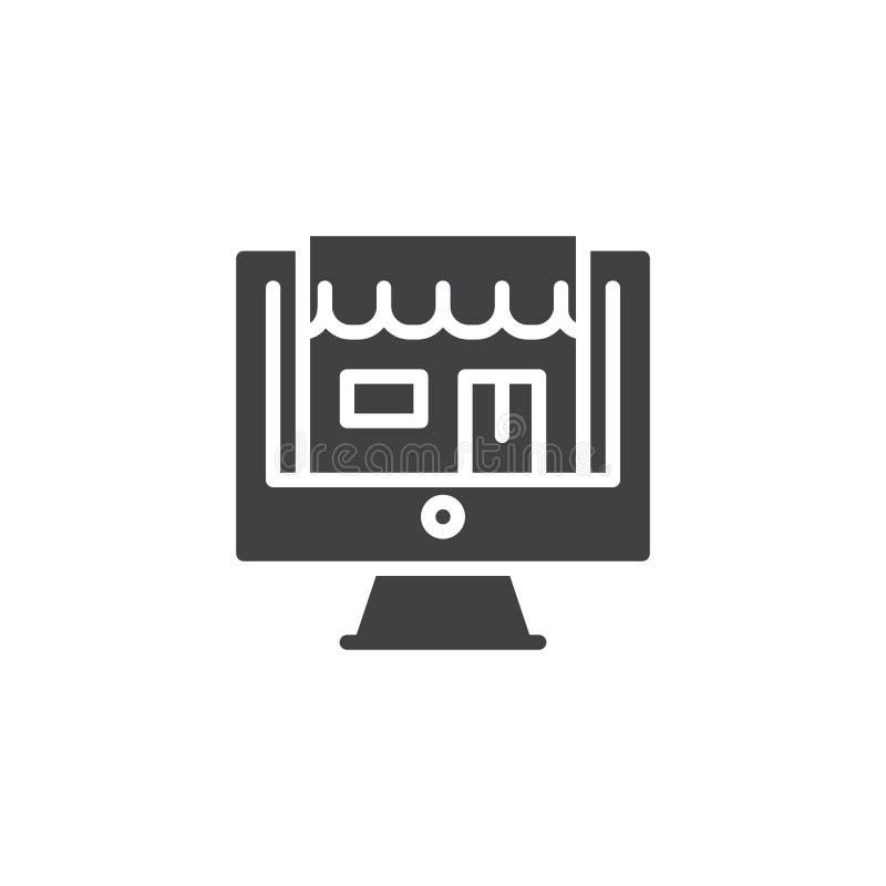 Tienda en icono de escritorio del vector de la pantalla del ordenador ilustración del vector