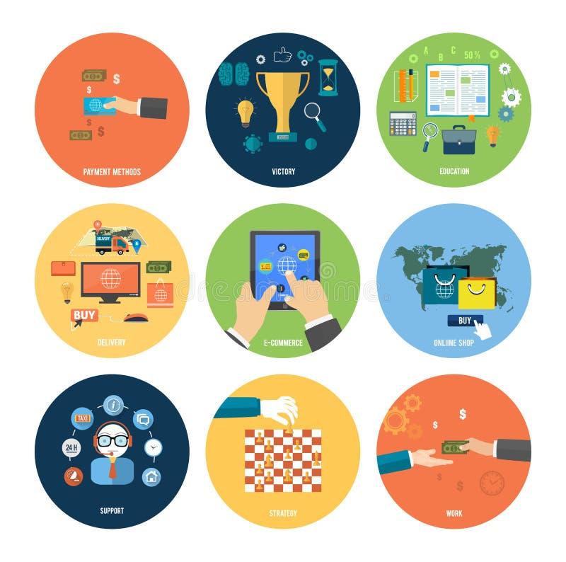 Tienda en línea, comercio electrónico, pago y entrega ilustración del vector