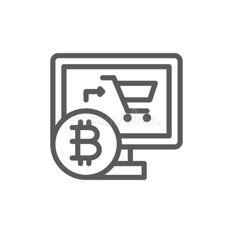 Tienda en línea con el bitcoin, cryptocurrency, línea crypto icono de la moneda libre illustration
