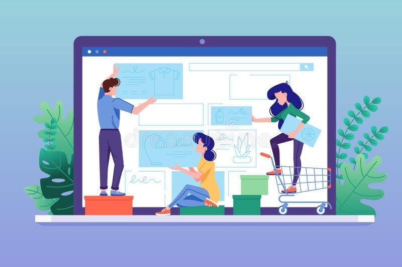 Tienda en línea del diseño Crear el interfaz de la tienda del web ilustración del vector