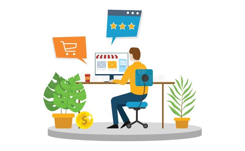 Tienda en línea del hombre del comercio electrónico que hace compras delante de la pantalla de ordenador para comprar productos v libre illustration