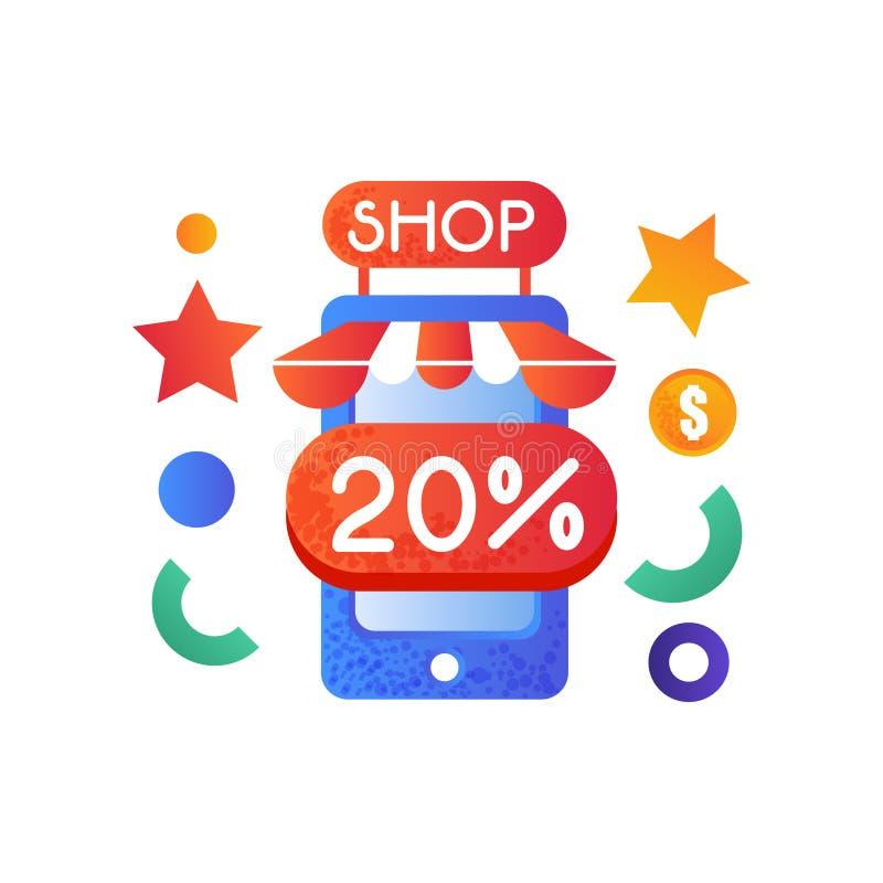 Tienda en línea, ejemplo del vector del concepto de las compras de Internet en un fondo blanco libre illustration