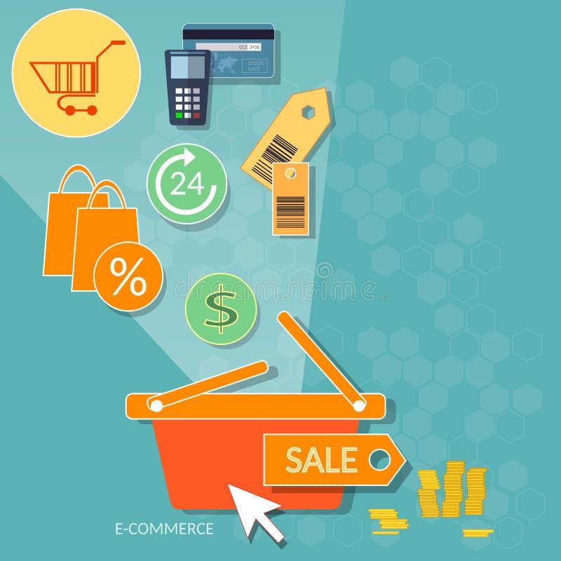 Tienda en línea en línea del mercado del web de la tienda de Internet del concepto de las compras stock de ilustración