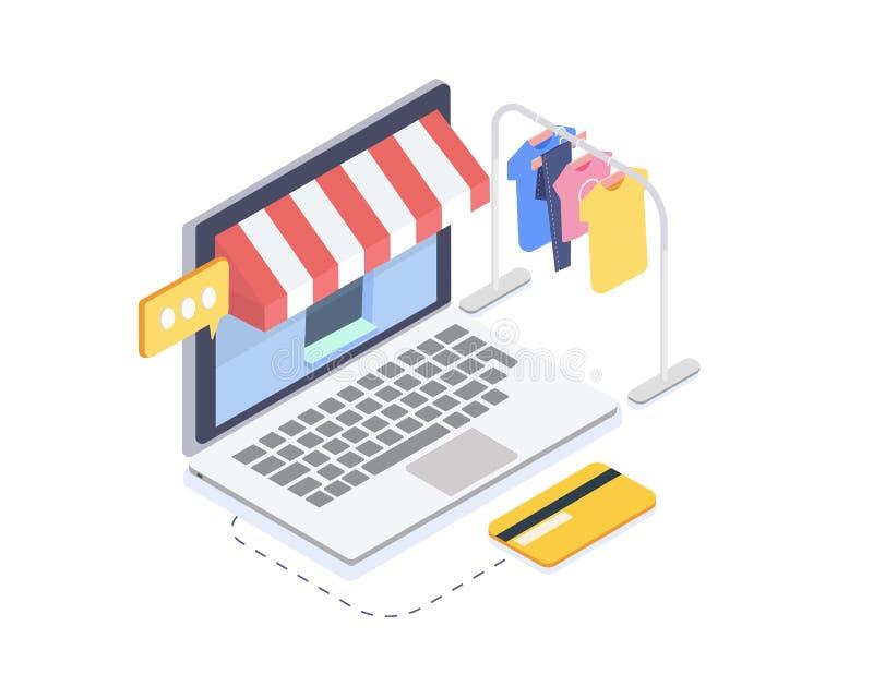 Tienda en línea isométrica de la ropa Concepto en línea de las compras y del consumerismo ilustración del vector 3d stock de ilustración